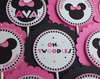 SET of 12 - Minnie Mouse - Cupcake Toppers