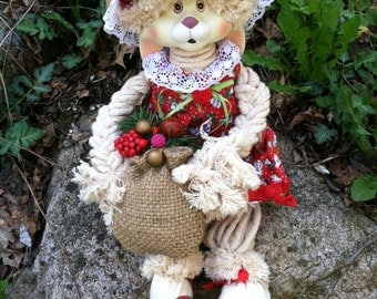 Bunny Rabbit Doll Vintage House of Lloyds Porcelain Cotton and Straw Rabbit Figurine Flossie 1993 Bunny Mop Doll Country Style Rabbit