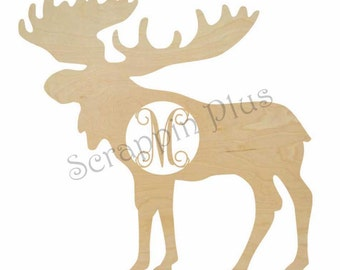 Wooden Moose Shape with Laser Cut Insert