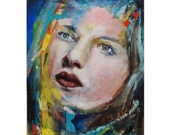 Original Figure Painting oil on wood panel - HeadGL2 - 11 x 14 inches