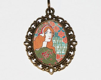 Art Nouveau, Goddess Necklace, Woman, Louis Rhead, Princess, Bronze Oval Pendant