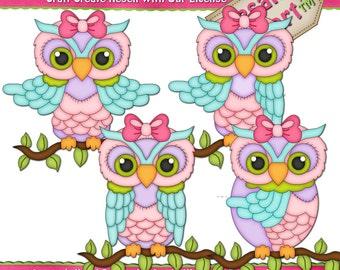 LiL Owl Girls Colors Clipart (Digital Download File)