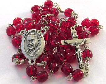Saint John XXIII Medal Handmade Catholic Rosary Red Czech Glass Druk