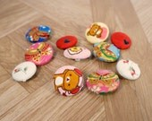 """11 pc assorted fabric buttons, handmade buttons, red, asian floral, rose, heart, silk, bears, variety pack, 1""""."""