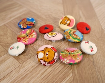 "11 pc assorted fabric buttons, handmade buttons, red, asian floral, rose, heart, silk, bears, variety pack, 1""."
