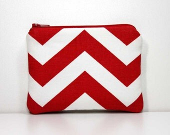 Red and White Chevron Zipper Coin Purse with Key Ring - Small Wallet - Little Zipper Pouch - Little Pouch - Small Gadget Case