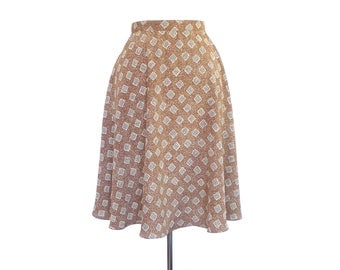 Brown High Waisted Circle Skirt. Small. Vintage 90s Geometric Pattern Skater Skirt