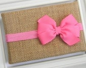 Hot Pink Bow Headband - Newborn Bow Headband - Pink Bow Headband