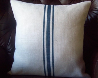 Grain Sack Pillow Cover, Navy Blue Stripes, Striped Pillow, Decorative Pillow, Burlap Pillow, Rustic Pillow, Beach Pillow, Farmhouse Pillow