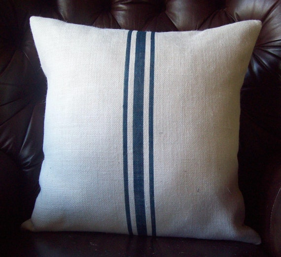 Blue Striped Decorative Pillows : Grain Sack Pillow Cover Navy Blue Stripes Striped Pillow