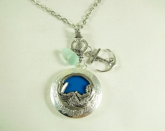 Silver Locket Necklace , Mermaid With Charms And Sea Glass  Aqua Blue Background  Womens Gift