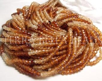 """Full 12"""" strand shaded HESSONITE GARNET faceted gem stone rondelle beads 3.5mm"""