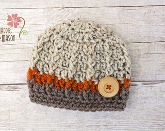 Sweet and Simple Textured Burtton Beanie, Newborn Photography Prop, Oatmeal Taupe and Orange