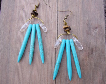Turquoise howlite tribal spike with quartz and tigers eye earrings