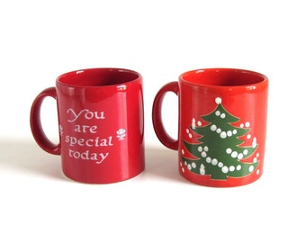 "Waechtersbach Mugs ""You Are Special Today""or Christmas Tree Mug W. Germany Red Green White Cup"