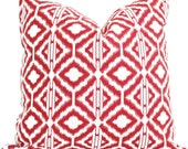 Red and White Ikat Decorative Pillow Cover  Square or Euro pillow cover, accent pillow throw pillow