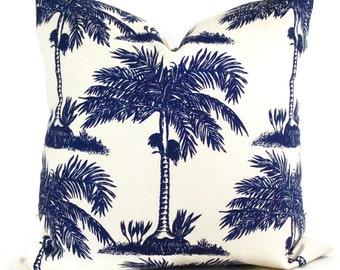 Navy Blue Palmier Pillow Cover China Seas Quadrille  Square, Eurosham or Lumbar pillow Accent Pillow, Throw Pillow, Toss Pillows, Pillow