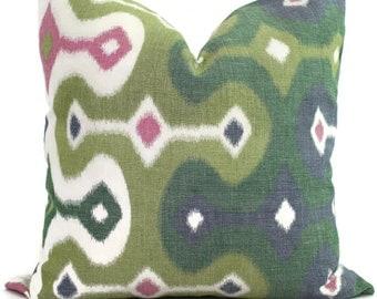 Martyn Bullard Schumacher Darya Ikat Jewel Decorative Pillow Cover 18x18, 20x20, 22x22 or lumbar pillow - Throw Pillow - Accent Pillow