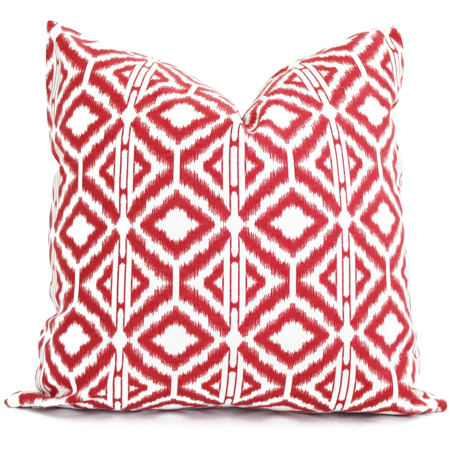 Red and White Ikat Decorative Pillow Cover Square or by PopOColor