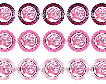 "1"" Breast Cancer Awareness Pink Ribbon Bottle Cap Image Sheets Party Favors Cupcake Topper Magnet Stickers Printables Instant Download."