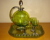 Antique 5 pc Green Etched Cut Glass Decanter Set Sterling Silver Tray Carafe Cordial