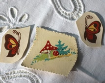 Set of 3 Small Cute Forest Mushroom Butterfly Vintage Decal Transfer Shabby Chic Unique Children Retro USSR Sovit times