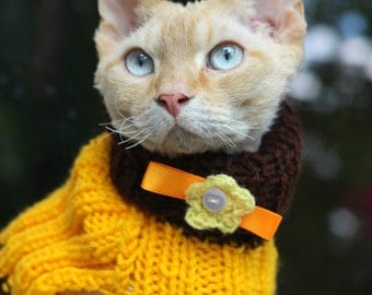 Cat or Small Dog Jumper Sweater Wool Turtle-Neck Brown Yellow Stripes Hand-made. Sphinx Cornish Rex Hairless Chihuahua, Yorkshire Terrier