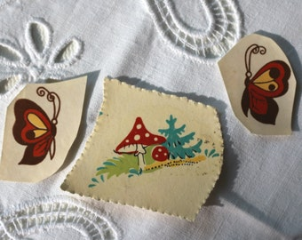 Set of 3 Small Cute Forest Mushroom Butterfly Vintage Decal Transfer Shabby Chic Unique Children Retro USSR Soviet times