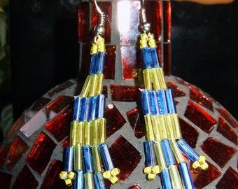 Native American style handmade small bugle bead earrings blue and light green