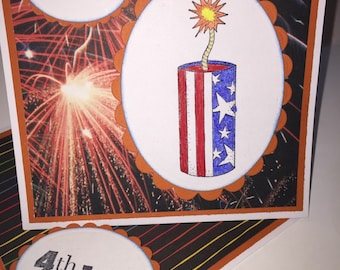 Fireworks Fourth of July card (1 card)