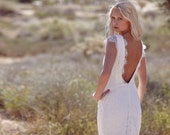 "Vintage Inspired Wedding Dress, Backless, Ivory Cream Lace, White Short Sleeve, Bohemian, Low Back - ""Fin"""