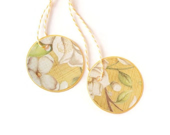 Clearance - Magnolia flower tags - set of 12 - you choose your colors (TCP233)