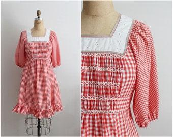 70s Hippie Prairie Dress. Plaid dress. Bohemian dress. Size S/M