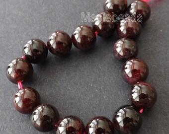 "16pcs, 5"" Deep red natural GARNET gemstone round beads 8mm"