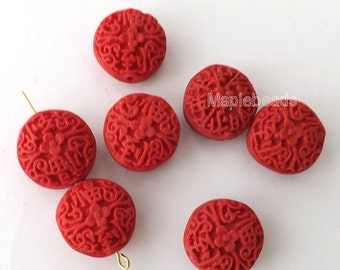 6pcs-double sides Carved Red Cinnabar coin beads, focal beads set