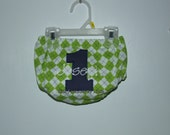 Personalized Lime Green Argyle with Navy Pin Dot Number/White Name Diaper Cover