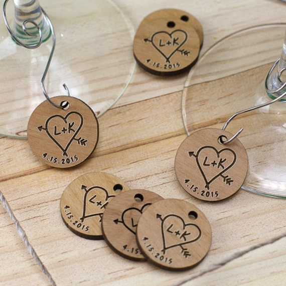 engraved wood initial wine charm wedding favors by