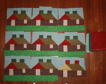 9 Vintage 1970's Fabric Patchwork Qult House Blocks and Extra Fabric