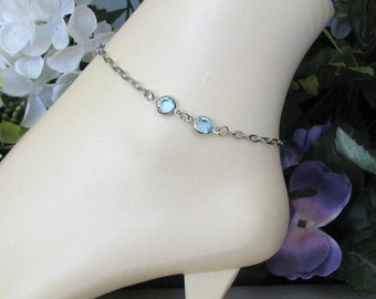 Something Blue Bridal Jewelry-Stainless Steel Ankle Bracelet-Silver Anklet-March Birthstone Anklet-Aquamarine Birthstone-Aquamarine Anklet
