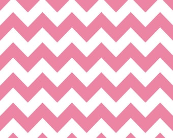 18 X 20 LAMINATED cotton fabric (similar to oilcloth) - Hot Pink Chevron - Approved for children's products