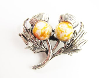 Vintage Scottish Thistle Cabochon Brooch