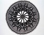 """Black crochet doily,  lace doilies, 14"""""""