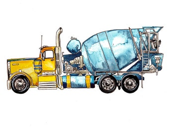 Cement Mixer Truck vehicle watercolor print, 8x10""