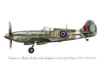 "Supermarine ""Spitfire"" vintage airplane watercolor print, 8""x10"""