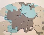 50 Large Light Gray Blue Dark Gray Elephant Cutout Punch Die Cut Elephant Cut Out Cupcake Topper