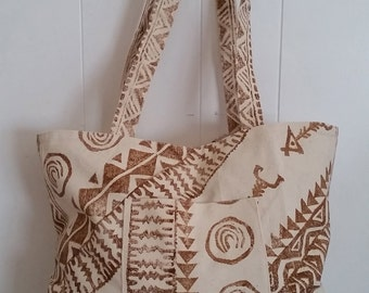 Tapa inspired . Hand printed canvas bag.