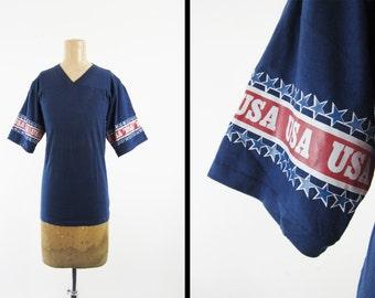 Vintage 80s USA Jersey Shirt Half Sleeve Navy Blue V Neck Made in USA - Medium / Large