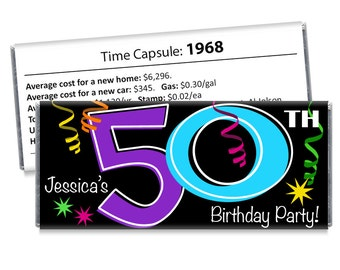 50th Birthday Candy Bar Wrappers - Adult Milestone Favors - 20th, 30th, 40th, 50th, 60th, 70th Birthday Candy Bar Wrappers - Set of 12