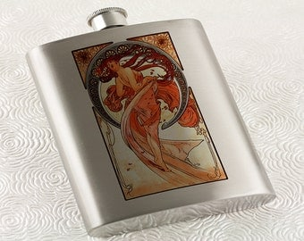 Art Nouveau Flask, Alphonse Mucha Dance Muse, Pin-up Vintage Poster, Stainless Steel Hip Flask, Great Bridesmaid or Grooms Gift