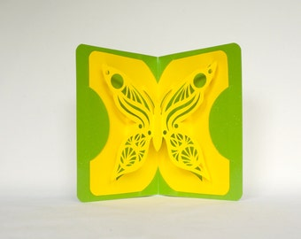 BUTTERFLY LOVE 3D Pop Up Card Handmade Handcut in Yellow and Metallic Shimmery Neon Green One Of A Kind
